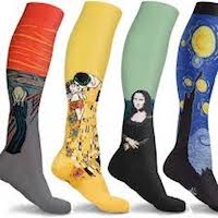 Four compression socks featuring different artworks including the Mona Lisa.