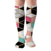 Geometric designed compression socks in pinks, teals, and black colored design.