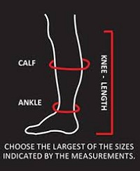 Illustration of how to get your calf, ankle and knee length measurements