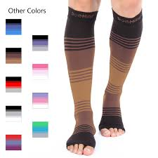 different colors of toeless compression socks for men