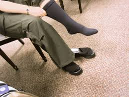 person putting on compression socks