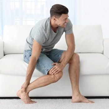 Man with leg/feet injury