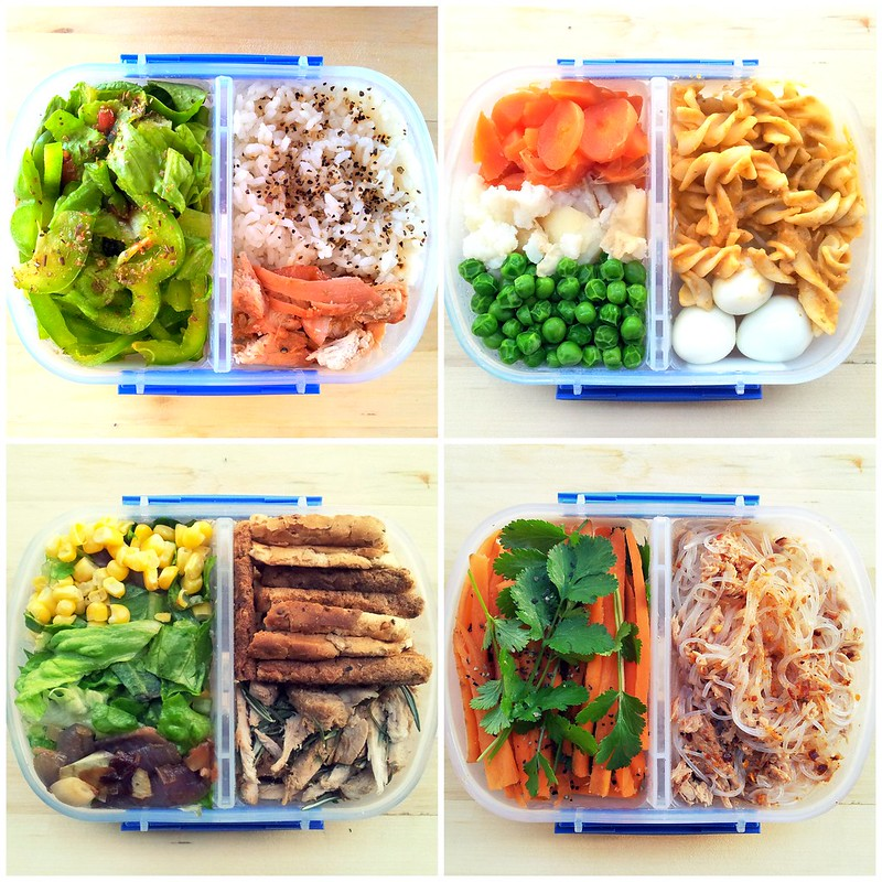 This set of 4 bento boxes show 4 typical meals consumed by the average Japanese every day . This perhaps shows what an office worker's lunch bento would look like. Despite its ordinariness, each box contains a balance meal of greens, proteins, and grains, which is the Japanese's version of a healthy meal.
