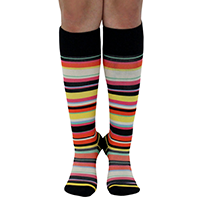 Pregnant woman wearing knee-high compression socks