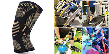 Copper knee sleeves and Man on a treadmill, cycling, lifting kettle bell