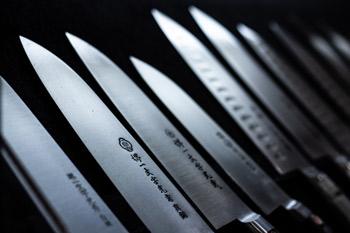 Set of sharpened knives