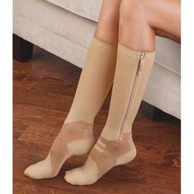 woman wearing compression stocking