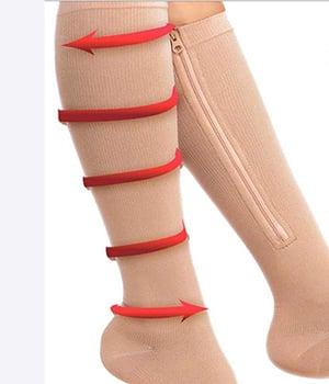 15 to 20 mmHg Knee high zipper hoses alleviate swelling
