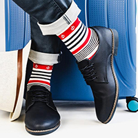 man comfortable in compression socks