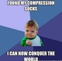 A meme showing the satisfaction of having compression socks