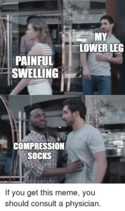funny memes and information on compression socks