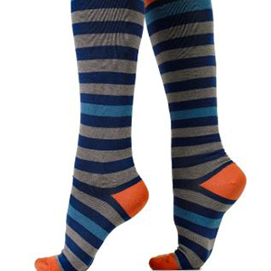 knee high men's compression socks - stripes with orange heels