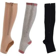 mmHg knee High Zip Compression Socks Model for Footwear