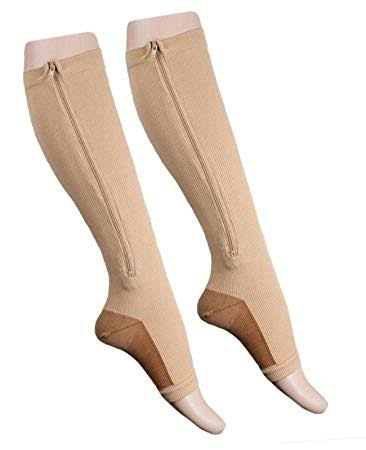 mmHg knee High Zip Compression Socks Model for Footwear
