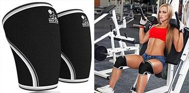 Nordic knee sleeves in Black, woman lifting weights