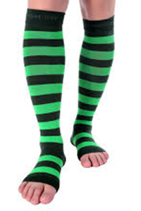 open toe black and blue stripes compression stockings