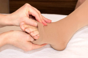 Image showing open toe compression socks for swelling