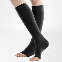 woman wearing open toe compression socks