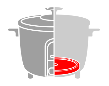 an illustration showing the heating element inside rice cookers