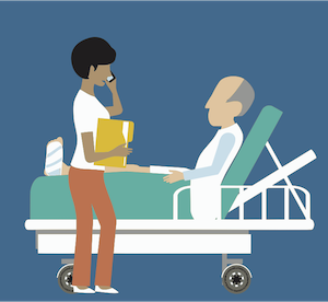 Hospital staff talking to patient in bed