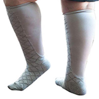 a nurse wearing essential wide knee highs support hosiery for walking and weight management