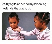 A meme showing the struggle of eating healthy pregnancy diet