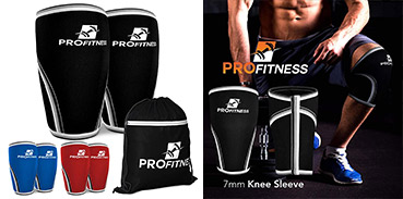 Pro Fitness knee sleeves in black blue red