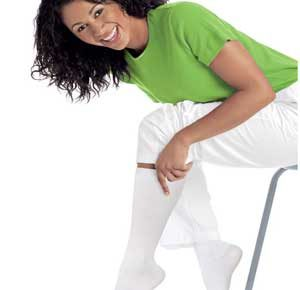 image showing a practitioner happy to wear nursing stockings