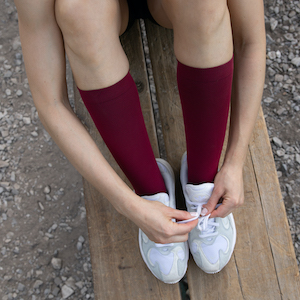 Red Knee High Compression Socks. These specific Compression Socks are ComproGear 20-30 mmHg Knee High Compression Socks.