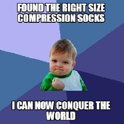 right size compression socks meme