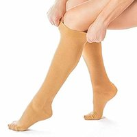a person putting on compression stockings