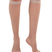 woman wearing sheer compression socks