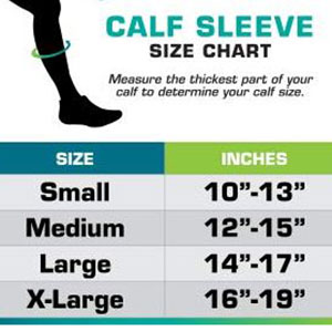 size chart for legs compression leg sleeves