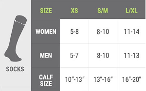 size chart for knee high compression socks