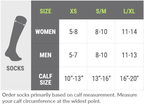 image showing sizes of stockings available
