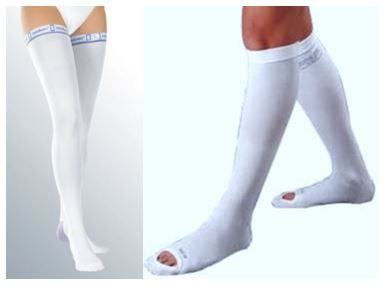 Different Styles of TED Stockings including close toe T.E.D. Hose and open toe T.E.D. Hose