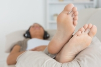 give your legs and foot a rest by elevating them when lying down