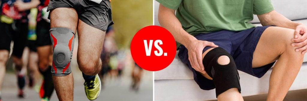 Man with knee sleeves vs Man with Knee braces