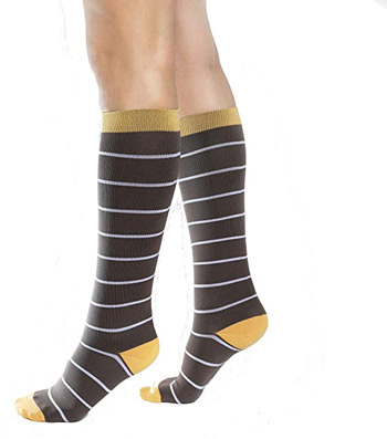 Compression socks white stripe, yellow and brown
