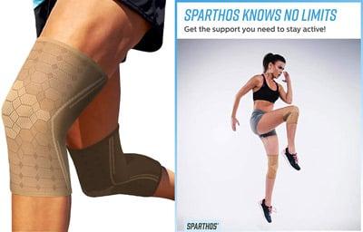Sparthos knee sleeves, woman jumping with knee sleeves on