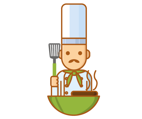 Chef with slotted spatula