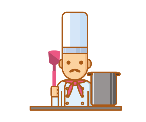 Chef with pot and pink spatula
