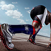 sprinting in compression socks