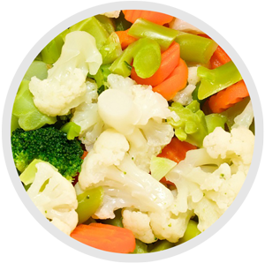 a dish of vegetables including broccoli and carrots
