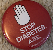a button used in the campaign against diabetes from the American Diabetes Association