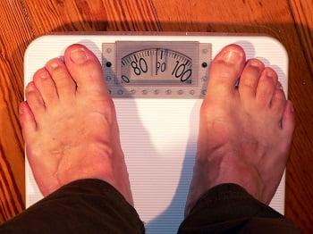swollen feet on scale