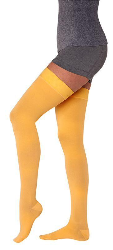 Thigh-high compression socks in different colors