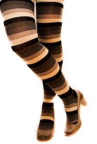 Brown Striped Thigh High Compression Stockings