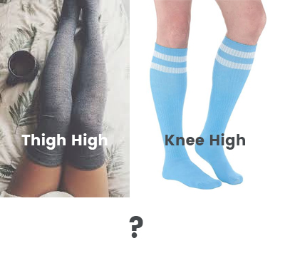 picture showing comparison of thigh-high compression socks and knee-high compression socks