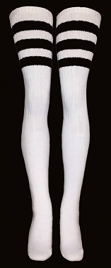 picture of black and white thigh-high socks
